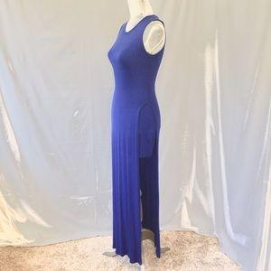 A'gaci Blue body-con split Maxi cotton dress